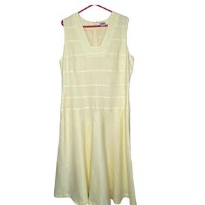 J. Peterman Sleeveless Yellow Linen Dress size 16